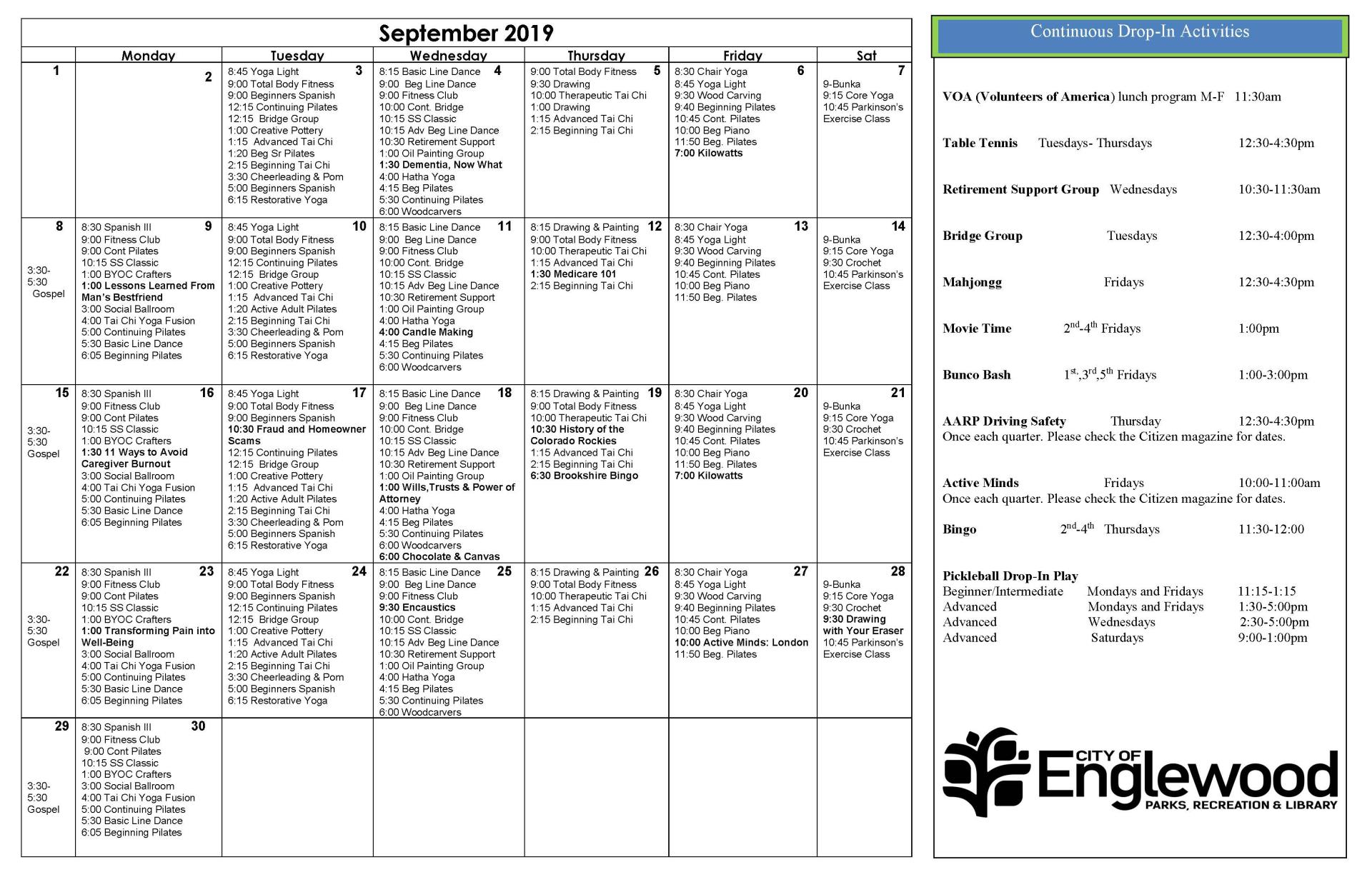 September 2019 Event Calendar for Malley
